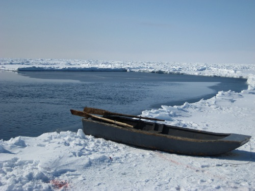 Retrieval boat at the floe edge in Cumberland Sound (May, 2009, G. Laidler).