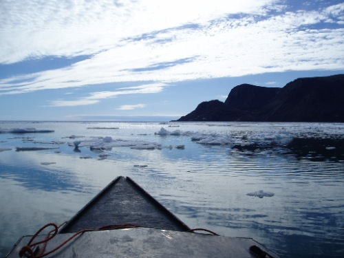 Boating in Pangnirtung Fiord (June, 2008; G. Laidler).